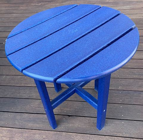 4.Round Blue Poly Side Table