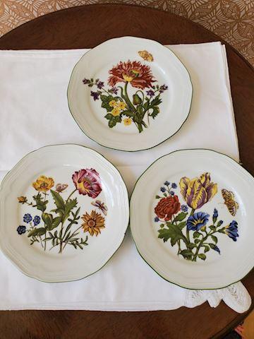 3 floral plates (Bareather, Waldsassek)