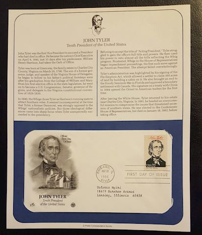 John Tyler 1986 First Day Cover