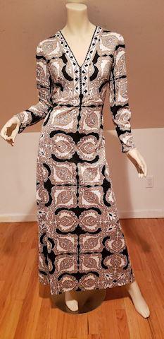 Vtg 70's Pucci-esque psychedelic maxi dress