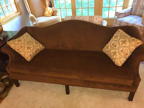 Burgandy camel back couch