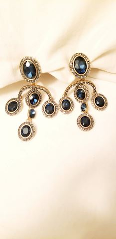 Oscar de La Renta Chandelier Earrings Saphire Blue