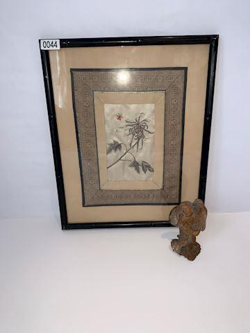 Lot 0044 Soap Stone Figure & Embroidery Art