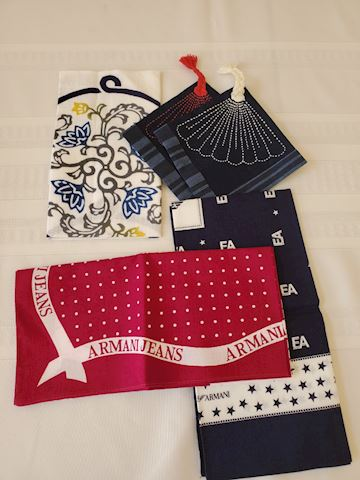 Various handkerchiefs and pocket squares