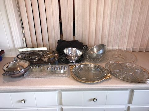 Lot of glass and silver plated serving ware