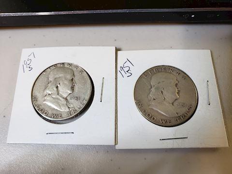 2 1951 S Ben Franklin Half Dollars