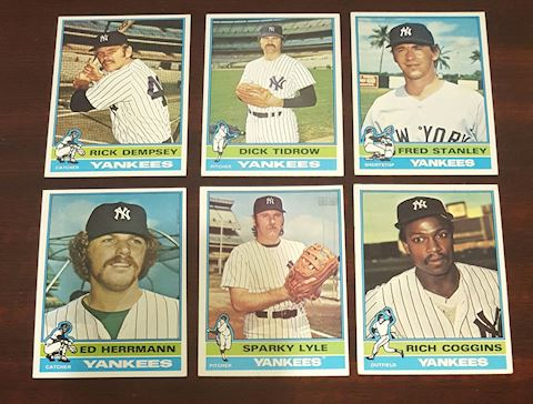 Collection of 6-1976 Yankees Baseball Cards
