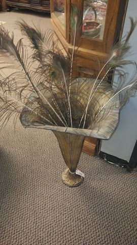 Peacock Feather Decor in Vase - #5049