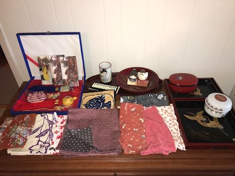 Japanese souvenirs, abacus, lacquer, furoshiki
