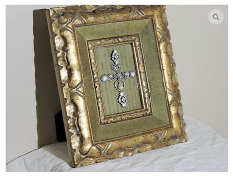 VINTAGE Art Handcrafted Silver Cross w/ Frame