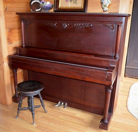 Brazilian Mahogany Upright Piano & Stool