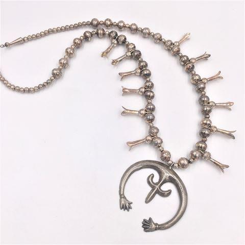 Vtg Navajo Silver Squash Blossom Necklace
