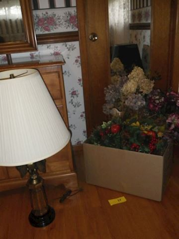 Faux Flowers and Eagle Lamp