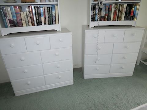 Pair of Matching Pine Painted White Dressers