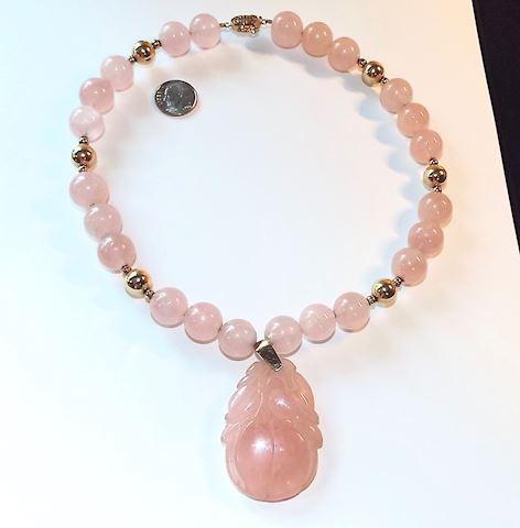 Fine Rose Quartz Necklace w/ Carved Peach Pendant