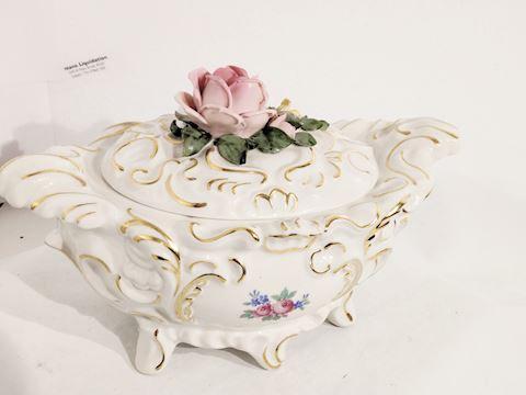 Antique Dresden Hand Painted Porcelain GOLD Trim