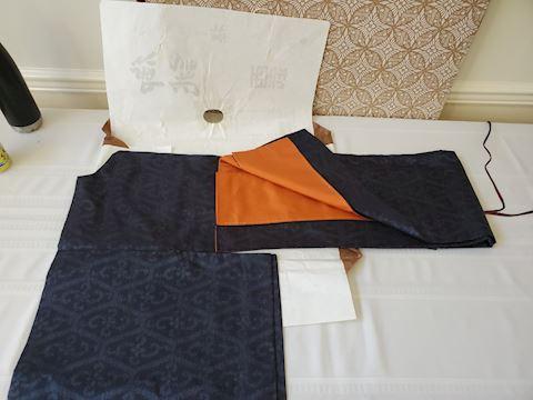 Blue with orange lining silk Kimono in paper wrap