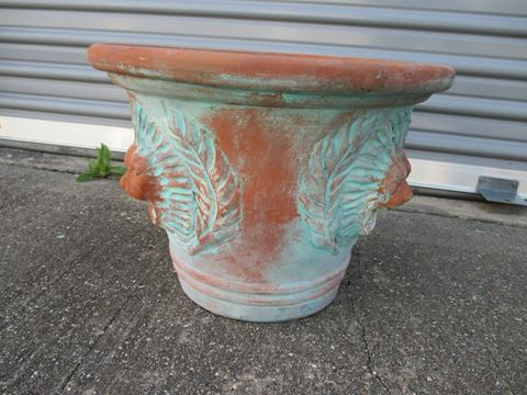 Clay Lion Head Planter