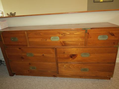 Mastercraft Pine 7 Drawer Dresser  Brass Handles