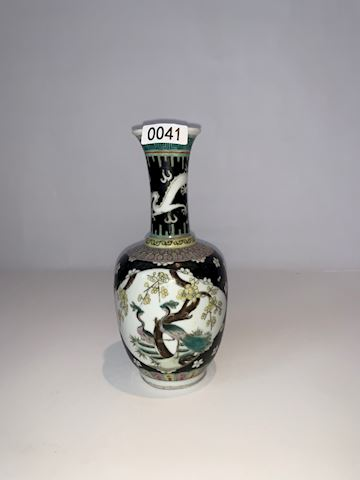 Lot 0041 Famille Rose black ground Porcelain Vase