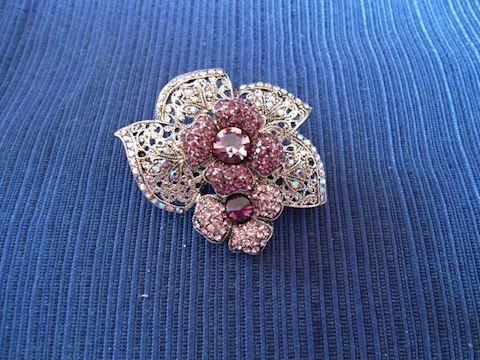 Rhinestone Pin with Purple Flowers