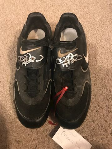 Orlando Palmeiro game worn and autographed cleats