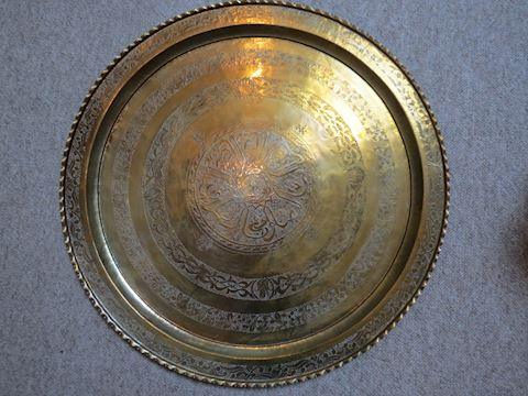 Large Brass Middle Eastern Round Platter - 38.5""