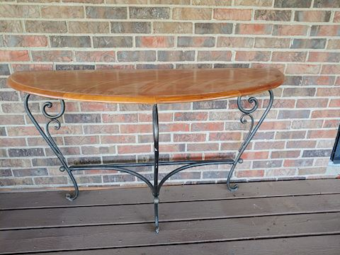 Foyer Hall Table Oak Wrought Iron Legs