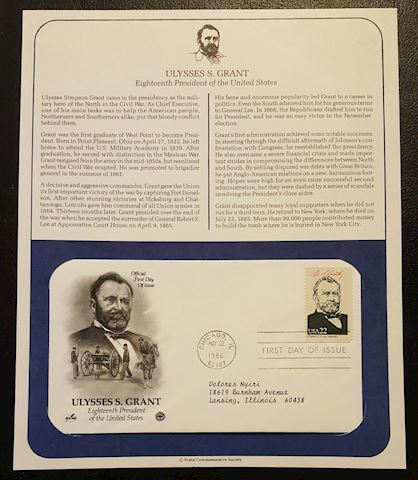 Ulysses S. Grant 1986 First Day Cover