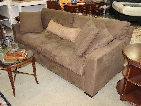 Crate and Barrel Axis II 2 Seat Brown Sofa