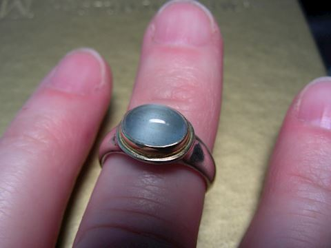 Steven Battelle 18k & Sterling Aquamarine Ring
