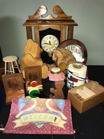 Vintage decor lot, clocks, needlepoint PLUS