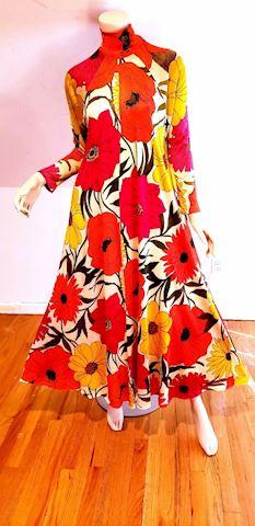 1970's Boho Chic Hawaii Maxi printed Gypsy dress