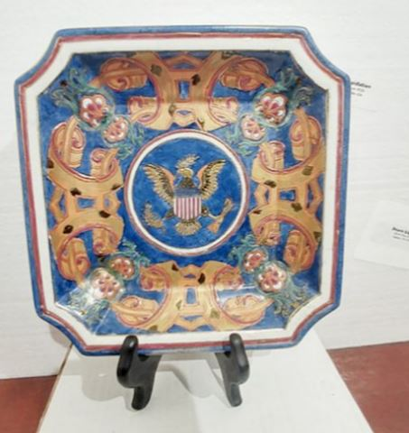 Antique Hand Painted Plate USA Commemorative