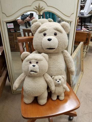 3 Assorted size Ted plush bears