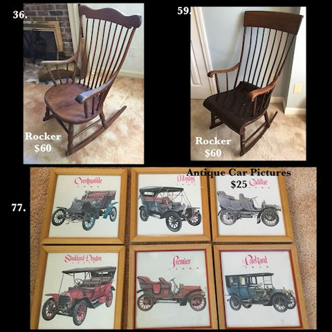 Antique Rocking Chairs & Car Pictures Collectibles