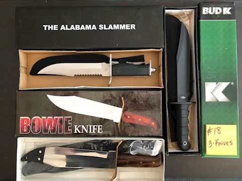 Collection of 3 Bowie Hunting Knives Lot 18