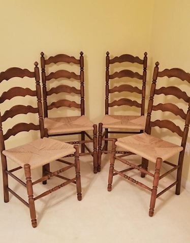 R-1016...Set of Wooden, high-back Chairs