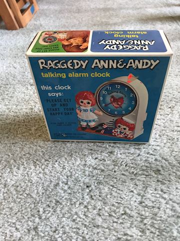 Vintage Raggedy Ann and Andy Talking Alarm CLock