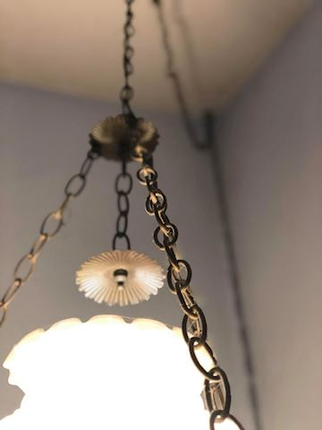 Vintage Regency Carnival Glass Pendant Lamp
