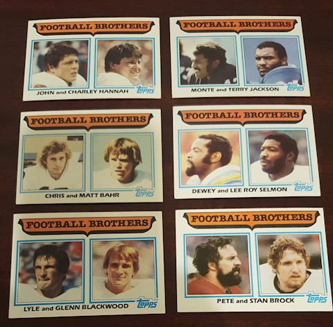 Collection of 6- 1980 Football Brothers Cards