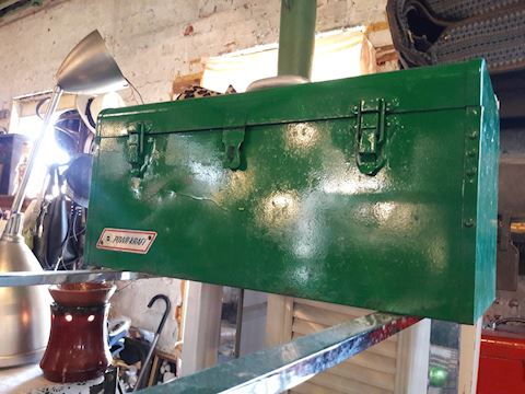 Vintage large Green Metal Toolbox