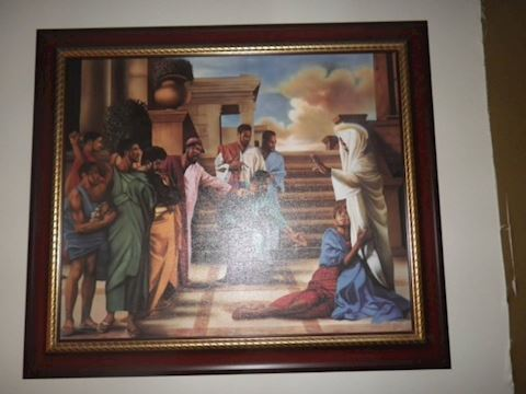 Religious Lithograph on Canvas