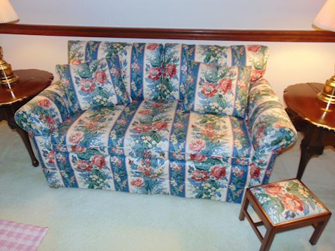 Chintz Love Seat with Matching Stoll