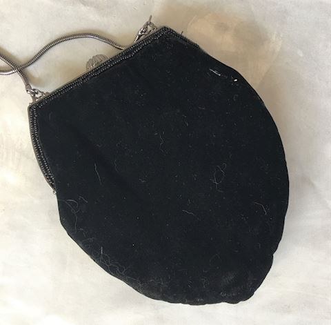 Jessica McClintock Black Velvet Beaded Evening Bag