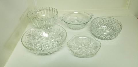 Assorted Glass Bowls and Plate