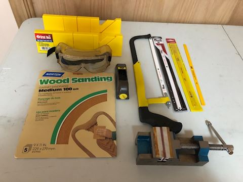 Saw lot, planer, sand paper, saw blades, goggles