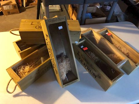 Lot of 7 wood wine box carrier, glass slide top