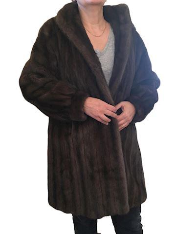 Women's Ebon Blu Hooded Mink Fur Coat