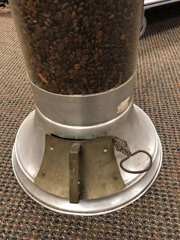 ANTIQUE GLASS COFFEE BEAN DISPENSER